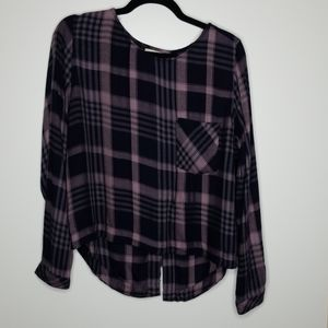 Anthropologie Cloth & Stone Plaid Lace Up Back S